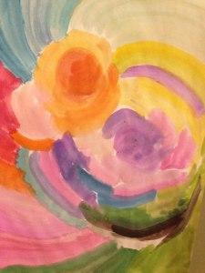 週末に娘と水彩でお絵描き遊びした時の絵。